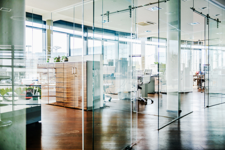 Modern office glass walled rooms