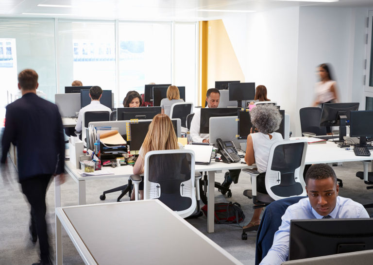 People all on computers in office